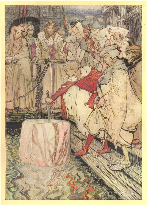 Rackham's How Galahad Drew Out the Sword from the Floating Stone at Camelot