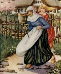 Malkin, with the distaff in her hand