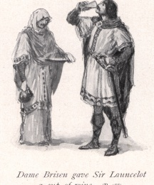 Dame Brisen gave Sir Launcelot a cup of wine