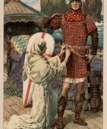 Then Sir Percivale's sister hung the sheathed sword upon the girdle, and girded it about Galahad's waist