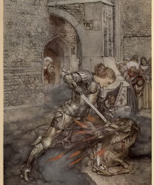 How Sir Launcelot fought with a fiendly dragon.