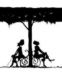 Silhouette sketch of lovers in the garden denoting the end of the tale.