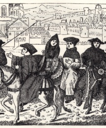 The Canterbury Pilgrims from a Miniature in the British Museum