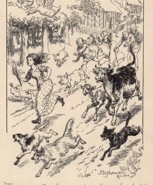 (Frontispiece) The cow ran, the calf ran...