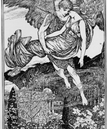 Zephyr carries Psyche down from the mountain.