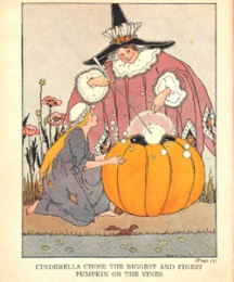 Cinderella chose the biggest and finest pumpkin on the vines.