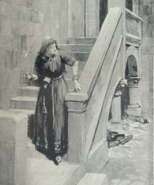 Under this stair on piles of straw slept certain of the serving men; but these, too, she passed in safety