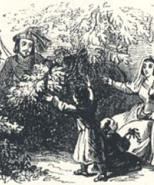 Cloudeslie's Return to His Wife, Headpiece to the Third Fit of Adam Bell, Clym of the Clough, and Wyllyam of Cloudeslie