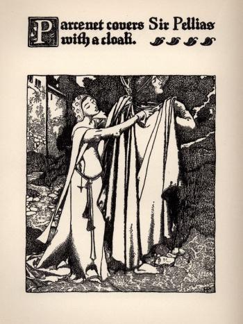 Parcenet Covers Sir Pellias with a Cloak