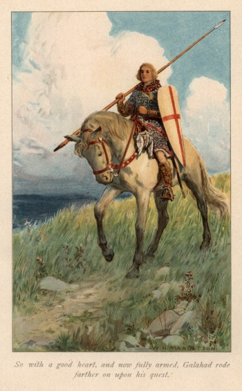 So with a good heart, and now fully armed, Galahad rode farther on upon his quest