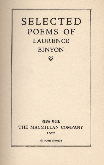 Selected Poems of Laurence Binyon