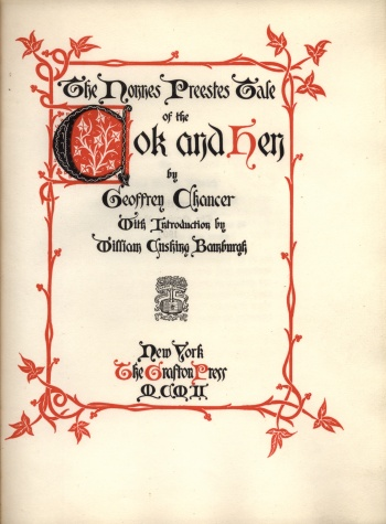 Nonnes Preestes Tale of the Cok and Hen by Geoffrey Chaucer, The