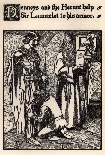 Denneys and the Hermit Help Sir Launcelot to his Armor