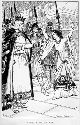 Black and white drawing. A woman in a flowing robe holds both of her arms high. A man in medieval dress and a crown, carrying a sword gives her his attention.