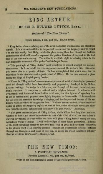 Reviews of Bulwer-Lytton's King Arthur