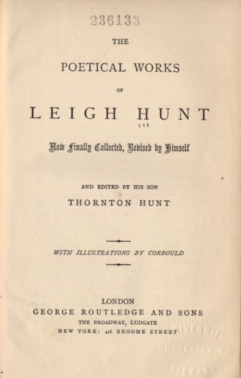 Poetical Works of Leigh Hunt, The