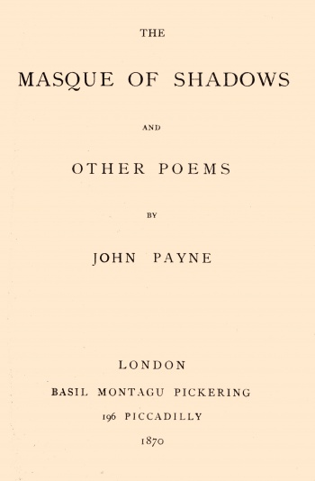 Masque of Shadows and Other Poems , The