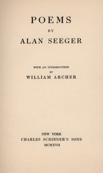 Poems [by Alan Seeger]
