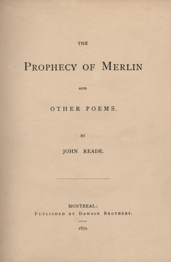 Prophecy of Merlin and Other Poems , The