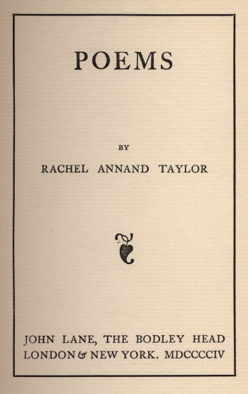 Poems by Rachel Annand Taylor