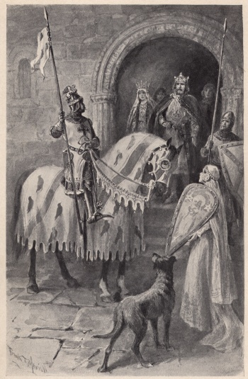 Sir Gawain seized his lance and bade them farewell