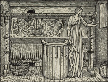 """She had ywoven in a stamin large How she was broght from Athenes in a barge..."""