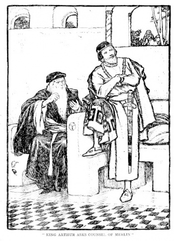 King Arthur Asks Counsel of Merlin