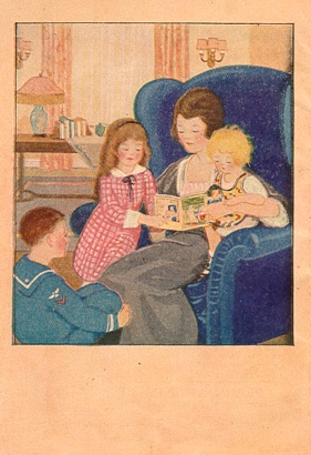 The back cover depicts a mother entertaining and educating her children with a copy of 'Famous Fairy Tales for Children'.