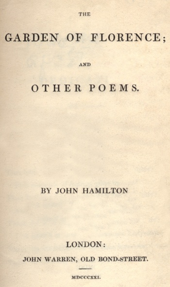 Garden of Florence; and Other Poems, The