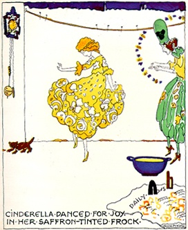 """Cinderella danced for joy in her saffron-tinted frock."""