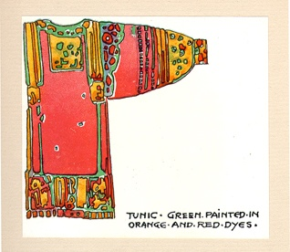 """Tunic - green painted in orange and red dyes."""