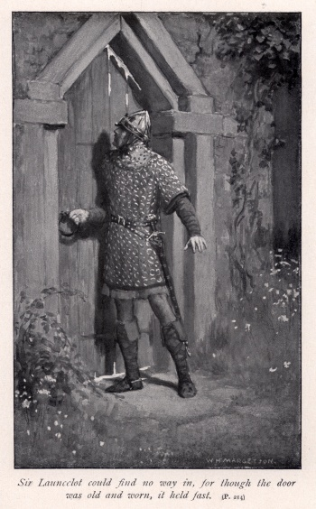 Sir Launcelot could find no way in, for though the door was old and worn, it held fast