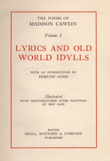 Poems: Lyrics and Old World Idylls