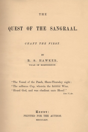 Quest of the Sangraal: Chant the First, The