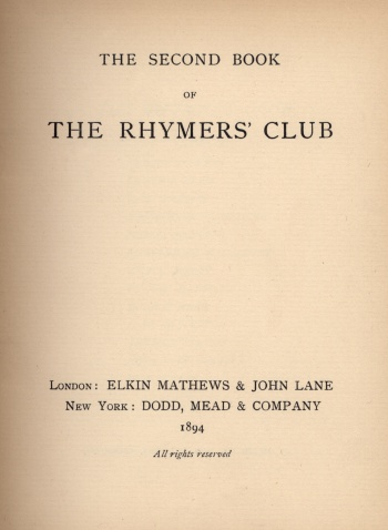Second Book of the Rhymers' Club, The
