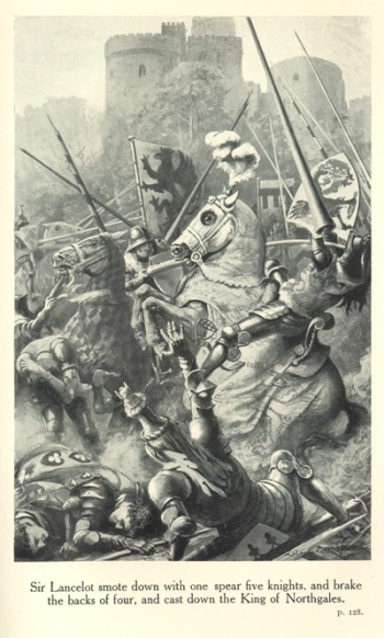 Sir Lancelot smote down with one spear five knights, and brake the backs of four, and cast down the King of Northgales