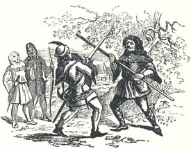 "Encounter Between Robin and the Pinder, Headpiece to ""The Jolly Pinder of Wakefield"""