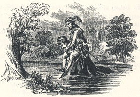 "The Friar Wading Through Water with Robin on his Back, Headpiece to ""Robin Hood and the Curtall Fryer"""