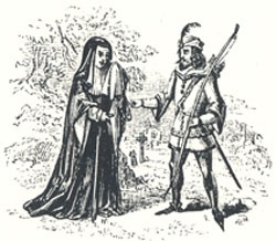 "The Widow Importuning Robin Hood, Headpiece to ""Robin Hood Rescuing the Widow's Three Sons from the Sheriff, When Going to be Executed"""