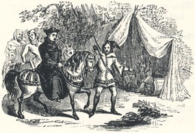 "Robin Hood Conducting the King in Disguise to Barnesdale, Headpiece to ""The King's Disguise, and Friendship with Robin Hood"""