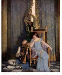 King Mark slew the noble knight Sir Tristram as he sat harping before his lady la Belle Isolde
