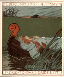 The Lady of Shalott Floating Toward Camelot