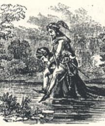 The Friar Wading Through Water with Robin on his Back, Headpiece to Robin Hood and the Curtall Fryer