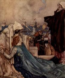 Then the Queen Guenever made great sorrow for the departing of her lord and other