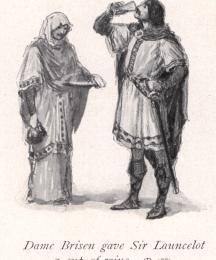 Dame Brisen gave Sir Launcelot a cup of wine