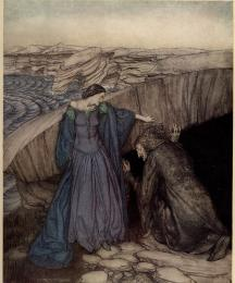 Merlin and Nimue: How by her subtle working she made Merlin to go under the stone to let wit of the marvels there: and she wrought so there for him that he came never out for all the craft he could do.