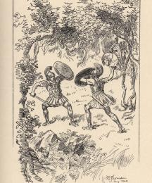 Fighting furiously as two wild boars.