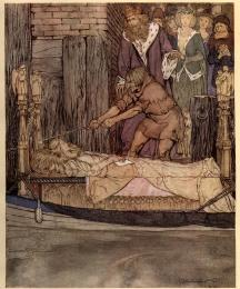 How King Arthur and Queen Guenever went to see the barge that bore the corpse of Elaine the Fair Maiden of Astolat.