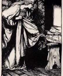 How Queen Morgan le Fay stole away the scabbard from Arthur