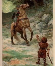 The dwarf hit Sir Tor's horse such a blow between the eyes that the poor horse staggered back its own length
